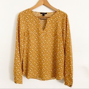 forever 21 yellow floral print blouse size Large